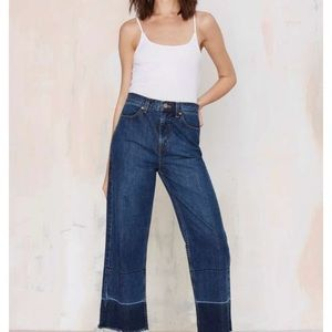 Nasty Gal Mad Crop Wide Leg Jeans- Size 28